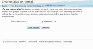 Paso para hacer un alias en Hotmail
