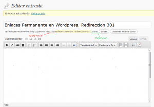 Enlaces Permanentes en Wordpress, Redirección 301